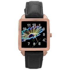Flower Pattern Design Abstract Background Rose Gold Leather Watch