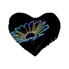 Flower Pattern Design Abstract Background Standard 16  Premium Flano Heart Shape Cushions