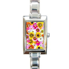 Flowers Blossom Bloom Nature Plant Rectangle Italian Charm Watch