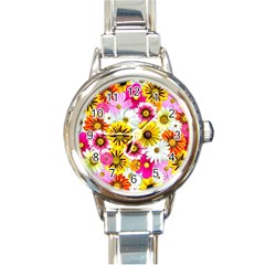 Flowers Blossom Bloom Nature Plant Round Italian Charm Watch