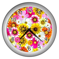 Flowers Blossom Bloom Nature Plant Wall Clocks (Silver)