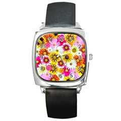 Flowers Blossom Bloom Nature Plant Square Metal Watch