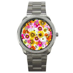 Flowers Blossom Bloom Nature Plant Sport Metal Watch