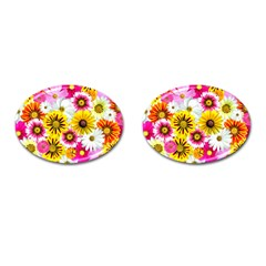 Flowers Blossom Bloom Nature Plant Cufflinks (oval)