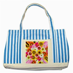 Flowers Blossom Bloom Nature Plant Striped Blue Tote Bag
