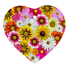 Flowers Blossom Bloom Nature Plant Heart Ornament (2 Sides)