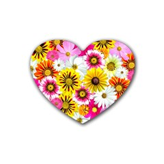 Flowers Blossom Bloom Nature Plant Rubber Coaster (Heart)