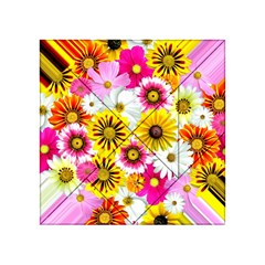 Flowers Blossom Bloom Nature Plant Acrylic Tangram Puzzle (4  X 4 )