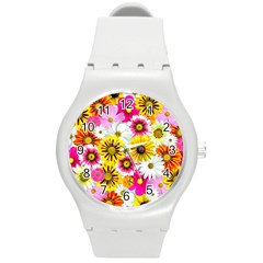 Flowers Blossom Bloom Nature Plant Round Plastic Sport Watch (m)