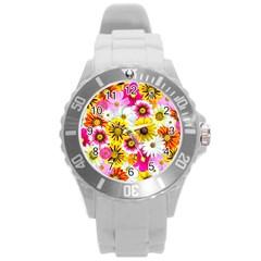 Flowers Blossom Bloom Nature Plant Round Plastic Sport Watch (l)