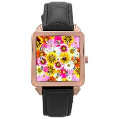 Flowers Blossom Bloom Nature Plant Rose Gold Leather Watch