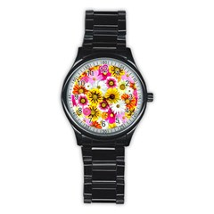Flowers Blossom Bloom Nature Plant Stainless Steel Round Watch
