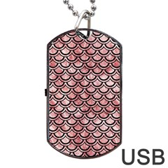 Scales2 Black Marble & Red & White Marble (r) Dog Tag Usb Flash (one Side)