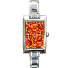 Gerbera Flowers Blossom Bloom Rectangle Italian Charm Watch