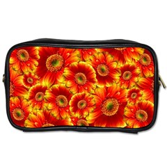 Gerbera Flowers Blossom Bloom Toiletries Bags 2 Side