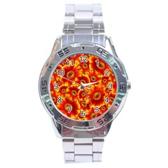Gerbera Flowers Blossom Bloom Stainless Steel Analogue Watch