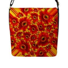 Gerbera Flowers Blossom Bloom Flap Messenger Bag (l)