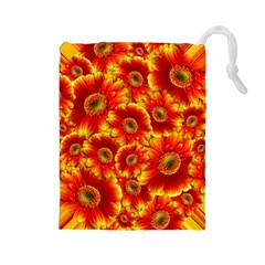 Gerbera Flowers Blossom Bloom Drawstring Pouches (large)