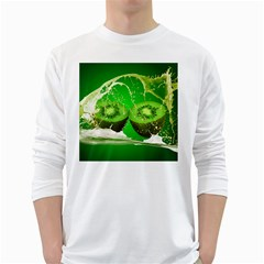 Kiwi Fruit Vitamins Healthy Cut White Long Sleeve T Shirts