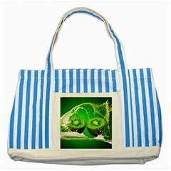 Kiwi Fruit Vitamins Healthy Cut Striped Blue Tote Bag