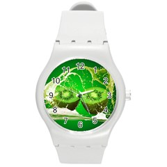 Kiwi Fruit Vitamins Healthy Cut Round Plastic Sport Watch (m)