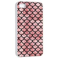 Scales1 Black Marble & Red & White Marble (r) Apple Iphone 4/4s Seamless Case (white)
