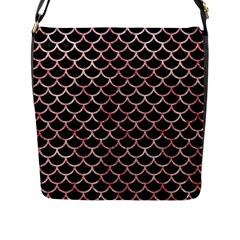 Scales1 Black Marble & Red & White Marble Flap Closure Messenger Bag (l)