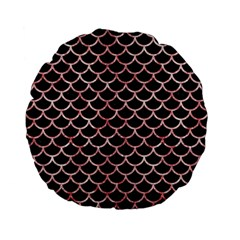 Scales1 Black Marble & Red & White Marble Standard 15  Premium Flano Round Cushion
