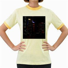 Hong Kong China Asia Skyscraper Women s Fitted Ringer T Shirts