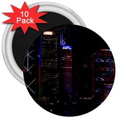 Hong Kong China Asia Skyscraper 3  Magnets (10 Pack)