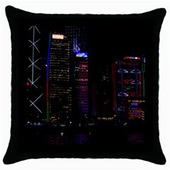 Hong Kong China Asia Skyscraper Throw Pillow Case (Black)