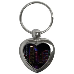 Hong Kong China Asia Skyscraper Key Chains (heart)