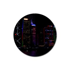 Hong Kong China Asia Skyscraper Rubber Round Coaster (4 Pack)