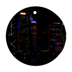 Hong Kong China Asia Skyscraper Round Ornament (two Sides)