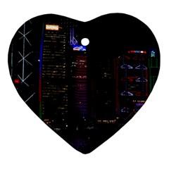 Hong Kong China Asia Skyscraper Heart Ornament (2 Sides)