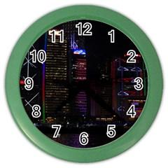 Hong Kong China Asia Skyscraper Color Wall Clocks