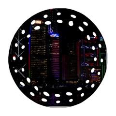Hong Kong China Asia Skyscraper Round Filigree Ornament (2side)