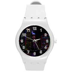 Hong Kong China Asia Skyscraper Round Plastic Sport Watch (m)