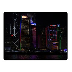 Hong Kong China Asia Skyscraper Double Sided Fleece Blanket (small)