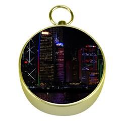 Hong Kong China Asia Skyscraper Gold Compasses