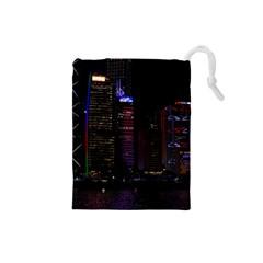 Hong Kong China Asia Skyscraper Drawstring Pouches (small)