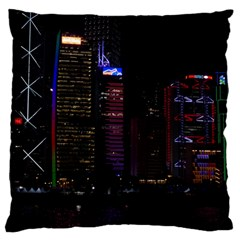 Hong Kong China Asia Skyscraper Large Flano Cushion Case (two Sides)