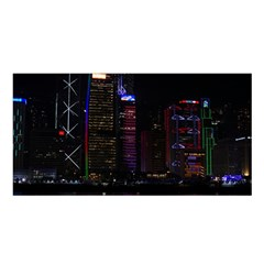 Hong Kong China Asia Skyscraper Satin Shawl