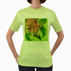 Colorful Design Acrylic Women s Green T Shirt