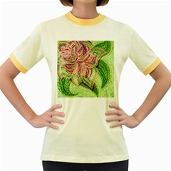 Colorful Design Acrylic Women s Fitted Ringer T-Shirts