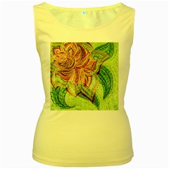 Colorful Design Acrylic Women s Yellow Tank Top