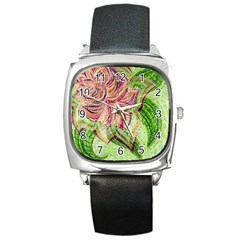 Colorful Design Acrylic Square Metal Watch