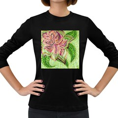 Colorful Design Acrylic Women s Long Sleeve Dark T-Shirts