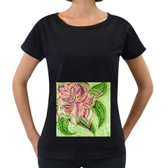 Colorful Design Acrylic Women s Loose Fit T Shirt (black)