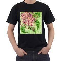 Colorful Design Acrylic Men s T Shirt (black)